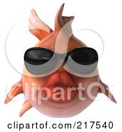 Royalty Free RF Clipart Illustration Of A 3d Pink Fish Wearing Shades And Facing Front by Julos