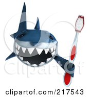 Royalty Free RF Clipart Illustration Of A 3d Shark Holding A Tooth Brush
