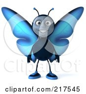 Royalty Free RF Clipart Illustration Of A 3d Blue Butterfly Facing Front