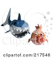 Royalty Free RF Clipart Illustration Of A 3d Shark Chasing After A Fat Fish by Julos