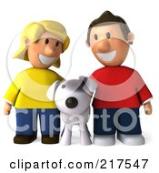 3d Casual Couple Smiling Down At Their Dog