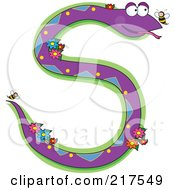 Purple Snake And Flowers In The Shape Of An S