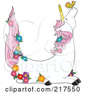 Royalty Free RF Clipart Illustration Of A Unicorn With A Butterfly And Flowers In The Shape Of A U