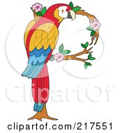 Royalty Free RF Clipart Illustration Of A Perched Parrot In In The Shape Of A P by Maria Bell