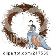 Royalty Free RF Clipart Illustration Of A Quail On A Wreath In The Shape Of A Q by Maria Bell