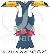 Royalty Free RF Clipart Illustration Of Double Toucans In The Shape Of A T by Maria Bell
