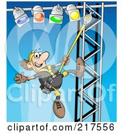 Royalty Free RF Clipart Illustration Of A Male Lighting Technician Setting Up Lights