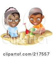 Black Boy And Girl Building Sand Castles Together
