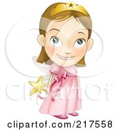 Royalty Free RF Clipart Illustration Of A Adorable White Girl In A Pink Fairy Princess Costume Holding Her Wand Behind Her Back