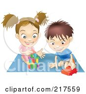 Royalty Free RF Clipart Illustration Of A White Boy And Girl Playing With Toys On A Floor Together by AtStockIllustration