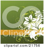 Clipart Picture Illustration Of A Blank Orange Text Bar With Green And White Flowers Over A Grunge Green Background