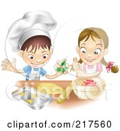 Royalty Free RF Clipart Illustration Of A White Boy And Girl Making Cookies Together