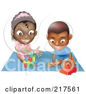 Royalty Free RF Clipart Illustration Of A Black Boy And Girl Playing With Toys On A Floor Together