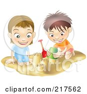 Royalty Free RF Clipart Illustration Of A White Boy And Girl Building Sand Castles Together