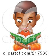 Royalty Free RF Clipart Illustration Of A Black Boy Sitting On A Floor And Reading A Green Book