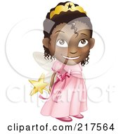 Royalty Free RF Clipart Illustration Of A Adorable Black Girl In A Pink Fairy Princess Costume Holding Her Wand Behind Her Back by AtStockIllustration