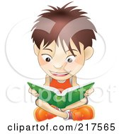 Royalty Free RF Clipart Illustration Of A White Boy Sitting On A Floor And Reading A Green Book