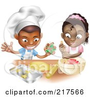 Royalty Free RF Clipart Illustration Of A Black Boy And Girl Making Cookies Together by AtStockIllustration