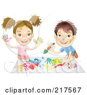 Royalty Free RF Clipart Illustration Of A White Boy And Girl Hand Painting And Painting Together