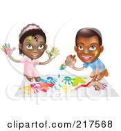 Royalty Free RF Clipart Illustration Of A Black Boy And Girl Hand Painting And Painting Together by AtStockIllustration