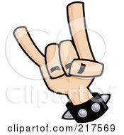 Royalty Free RF Clipart Illustration Of A Hand Gesturing Devil Horns by John Schwegel #COLLC217569-0127