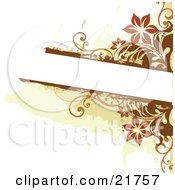 Clipart Picture Illustration Of A White Text Box Bordered With Orange And Brown Flowers And Vines On A White Background