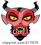 Royalty Free RF Clipart Illustration Of An Evil Devil Face by John Schwegel