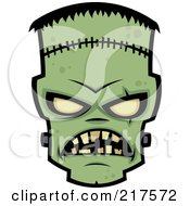 Royalty Free RF Clipart Illustration Of An Evil Frankenstein Face by John Schwegel