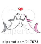 Royalty Free RF Clipart Illustration Of A Happy Shark Couple Smiling Under A Red Heart