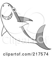 Royalty Free RF Clipart Illustration Of A Happy Gray And White Shark Swimming Upwards by Rosie Piter