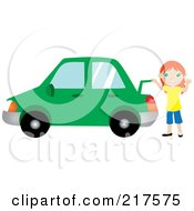 Royalty Free RF Clipart Illustration Of A Friendly Red Haired Girl Raising The Trunk Of Her Red Car And Waving