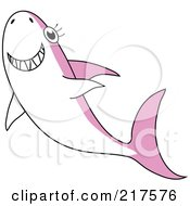 Happy Pink And White Shark Swimming Upwards