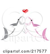 Royalty Free RF Clipart Illustration Of A Happy Shark Pair Smiling Under A Red Heart by Rosie Piter