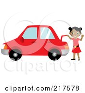 Royalty Free RF Clipart Illustration Of A Friendly Black Girl Raising The Trunk Of Her Red Car And Waving