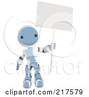 Royalty Free RF Clipart Illustration Of A Blue Ao Maru Robot Holding Up A Blank Sign On A Pole by Leo Blanchette