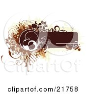 Clipart Picture Illustration Of A Brown Text Box With White Brown And Tan Dots Flowers Vines And Splatters On A White Background