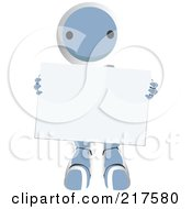 Royalty Free RF Clipart Illustration Of A Blue Ao Maru Robot Carrying A Blank Sign by Leo Blanchette