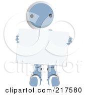 Blue Ao Maru Robot Carrying A Blank Sign