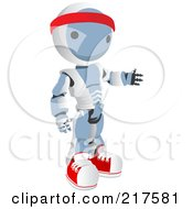 Royalty Free RF Clipart Illustration Of A Blue Ao Maru Robot Wearing Fitness Gear And Gesturing