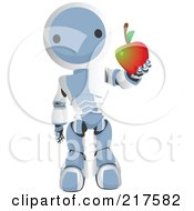 Royalty Free RF Clipart Illustration Of A Blue Ao Maru Robot Holding Out A Healthy Apple