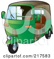 Royalty Free RF Clipart Illustration Of A Green 3 Wheeler Tuk Tuk by Lal Perera