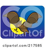 Royalty Free RF Clipart Illustration Of Brown Vampire Bats Flying With A Full Moon On Blue