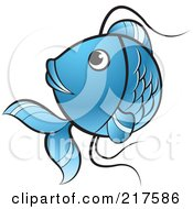 Royalty Free RF Clipart Illustration Of A Blue Koi Fish Turning by Lal Perera