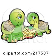 Royalty Free RF Clipart Illustration Of A Cute Tortoise Couple Eating Food by Lal Perera