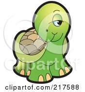 Royalty Free RF Clipart Illustration Of A Cute Tortoise Looking Shy by Lal Perera