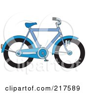 Royalty Free RF Clipart Illustration Of A Blue Bicycle In Profile by Lal Perera
