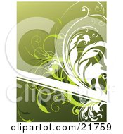 Clipart Picture Illustration Of A Blank White Text Box With White And Green Vines Over A Gradient Green Background