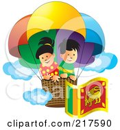 Royalty Free RF Clipart Illustration Of A Boy And Girl Flying With A Sri Lanka Flag In A Hot Air Balloon