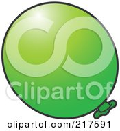 Royalty Free RF Clipart Illustration Of A Green Inflated Balloon