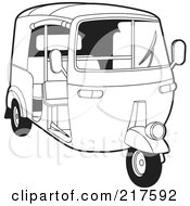 Royalty Free RF Clipart Illustration Of An Outlined 3 Wheeler Tuk Tuk by Lal Perera